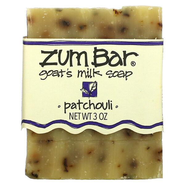ZUM, Zum Bar, мыло с козьим молоком, пачули, кусок весом 3 унции