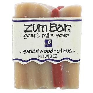 ZUM, Zum Bar, Goat's Milk Soap, Sandalwood-Citrus, 3 oz Bar
