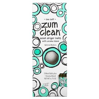 ZUM, Zum Clean, Wool Dryer Balls with Aroma Blend, Sea Salt, 4 Pieces