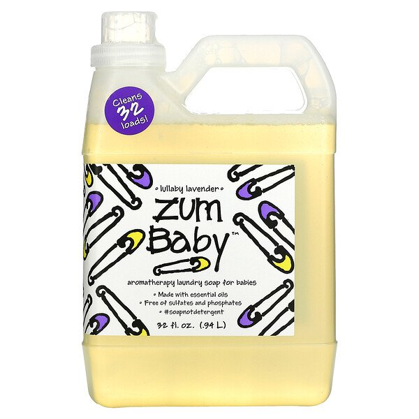 Zum Baby, Aromatherapy Laundry Soap for Babies, Lullaby Lavender, 32 fl oz (.94 L)