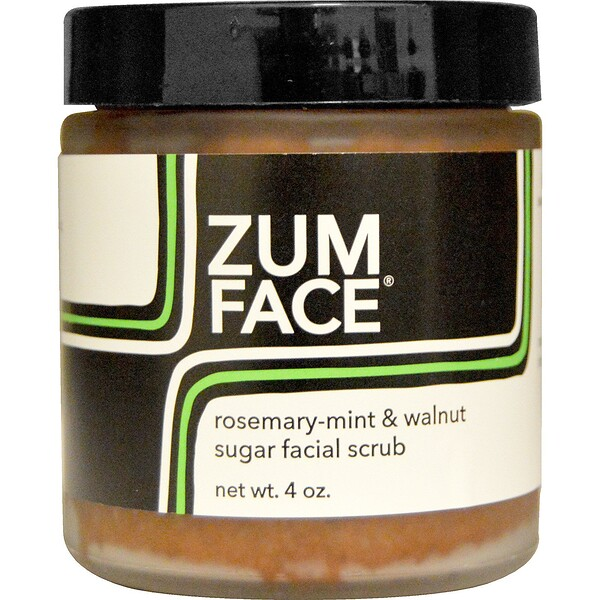 Zum Face, Rosemary-Mint & Walnut Sugar Facial Scrub, 4 oz