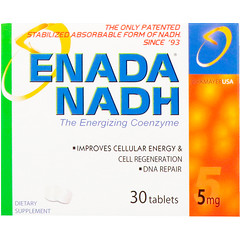 ENADA, Enada NADH, The Energizing Coenzyme, 5 mg, 30 Tablets