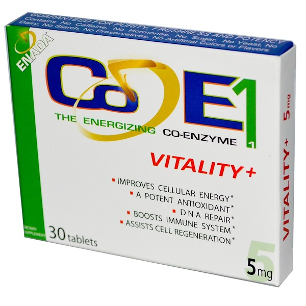 Co - E1, The Energizing Co-Enzyme 1, Vitality+, 5 mg, 30 Tablets