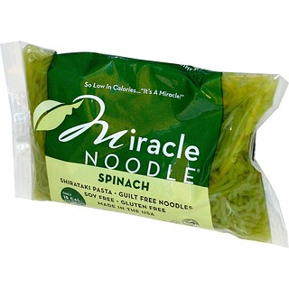 Miracle Noodle, سبانخ، مكرونة شيراتاكي، 7 أونصة (198 جم)