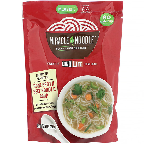 Bone Broth Noodle Soup, Beef, 7.6 oz (215 g)