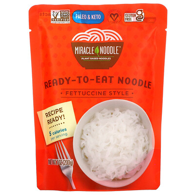 Купить Miracle Noodle Ready-to-Eat Noodle, Fettuccine Style, 7 oz (200 g)