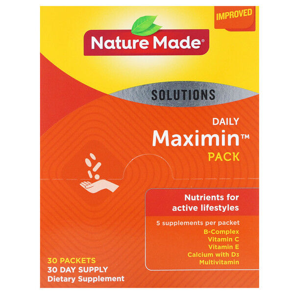 Nature Made, Daily Maximin Pack,複合維生素和礦物質補充劑,30 包