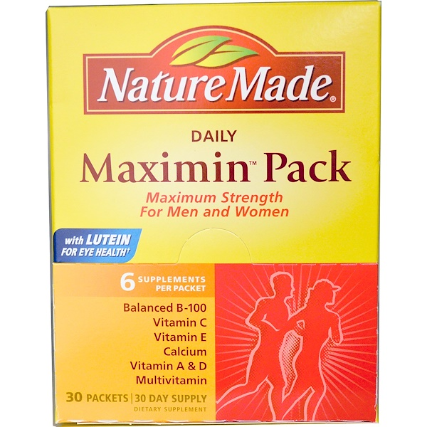 Nature Made, Daily Maximin Pack, 多種維生素和礦物質補充劑, 每包6克補充劑, 30 包