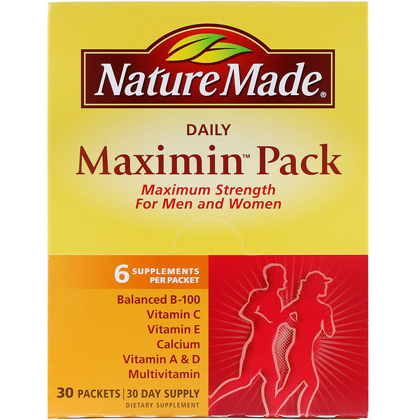 Nature Made, Daily Maximin Pack, Multivitamin and Mineral, 6 Supplements Per Packet, 30 Packets