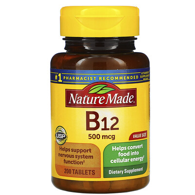 Nature Made Vitamin B-12, 500 mcg, 200 Tablets