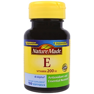 Nature Made, Vitamin E, 200 IU, 100 Softgels