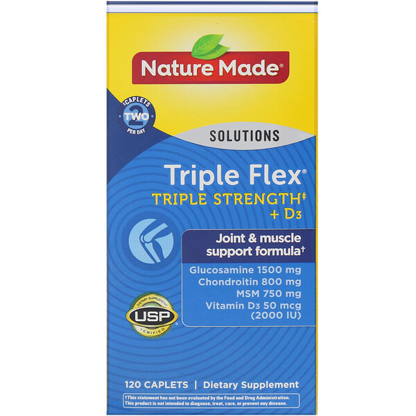 Triple Flex, Triple Strength + D3, 120 Caplets