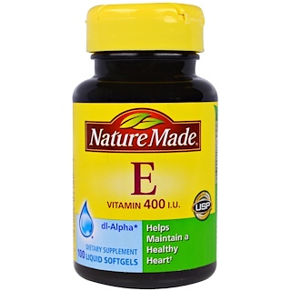 Nature Made, Vitamin E, 400 IU, 100 Liquid Softgels