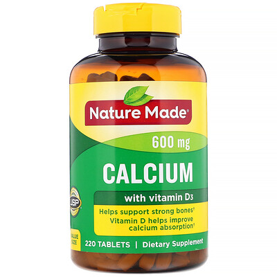 Nature Made Calcium with Vitamin D3, 600 mg, 220 Tablets