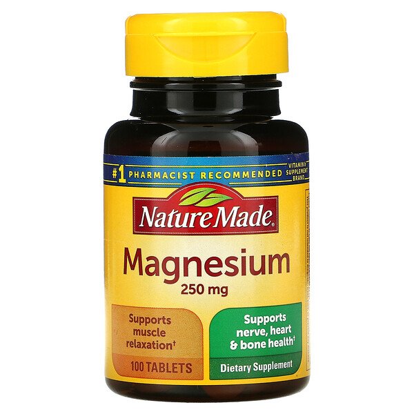 Nature Made, Magnesium, 250 mg, 100 Tablets
