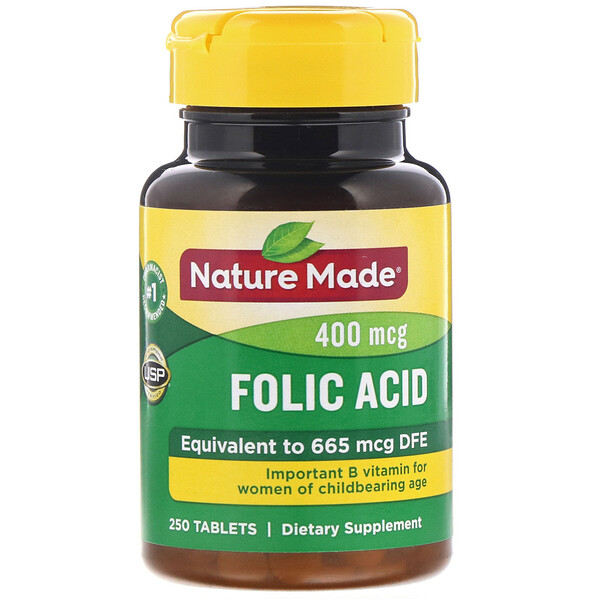 Nature Made, Folic Acid, 400 mcg, 250 Tablets