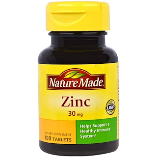 Nature Made, Zinc, 30 mg, 100 Tablets