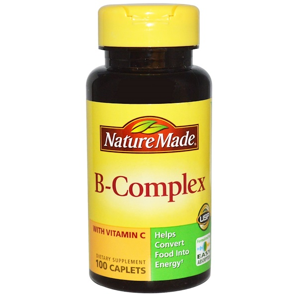 Nature Made, 비타민 C 함유 B 콤플렉스, 100 캐플릿