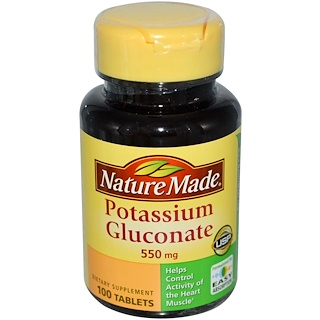 Nature Made, Potassium Gluconate, 550 mg, 100 Tablets