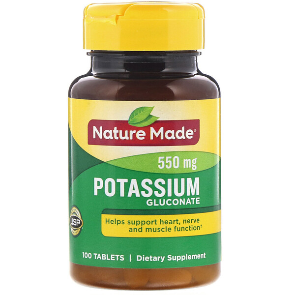 Nature Made, Potassium Gluconate, 550 mg, 100 قرص