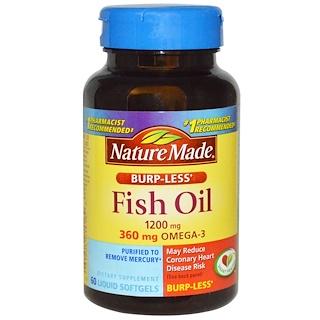 Nature Made, Fish Oil, Omega-3, Burp-Less, 1200 mg, 60 Liquid Softgels