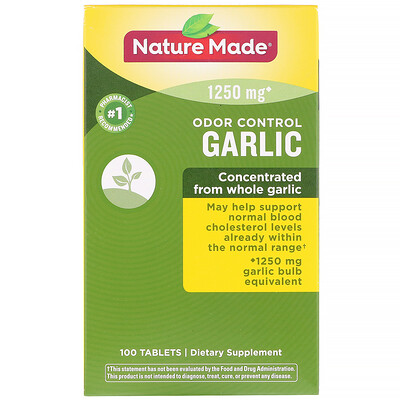 Nature Made Odor Control, Garlic, 1,250 mg, 100 Tablets