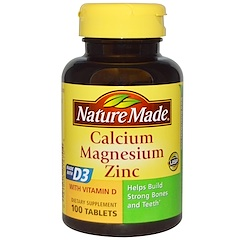 Nature Made, Calcium Magnesium  Zinc, 100 Tablets