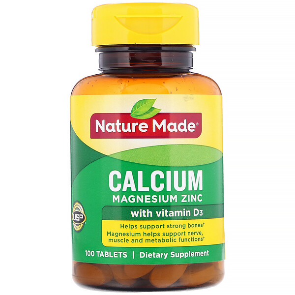 Nature Made, Calcium Magnesium Zinc with Vitamin D3, 100 Tablets