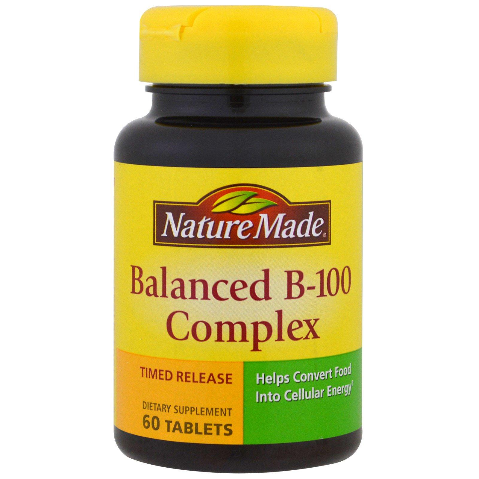 Nature Made, Сбалансированный комплекс витаминов В-100  (Balanced B-100 Complex), 60 таблеток