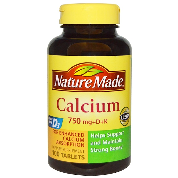 Nature Made, Calcium 750 mg +D + K, 100 Tablets