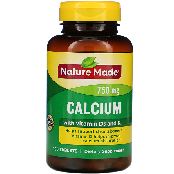 Nature Made, Calcium  with D3  and  K, 750 mg, 100 Tablets