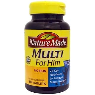 Nature Made, 彼のためのマルチビタミン, 鉄分フリー, 90錠