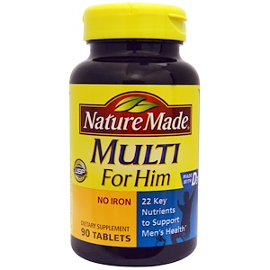 Nature Made 彼のためのマルチビタミン 鉄分フリー 90錠