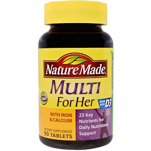 Nature Made, Multi for Her With Iron & Calcium, 90 Tablets