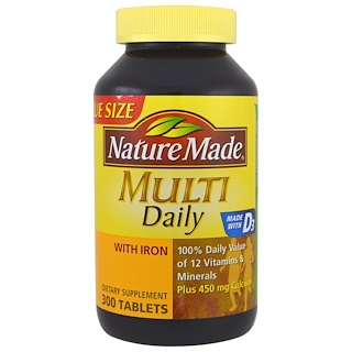 Nature Made, Multi, Daily, With Iron, 300 Tablets