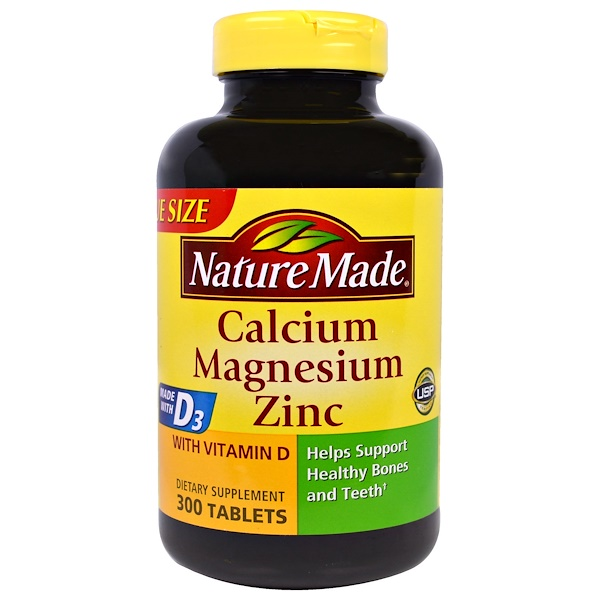 Nature Made, Calcium Magnesium Zinc with D3, 300 Tablets