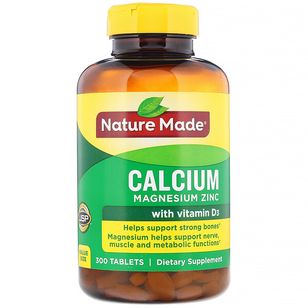 Nature Made, Calcium Magnesium Zinc with Vitamin D3, 300 Tablets