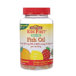 Nature Made, Kids First, Fish Oil Gummies, Orange, Lemon & Strawberry, 80 Gummies