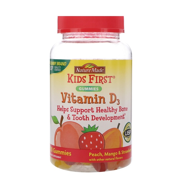 Nature Made, Kids First Vitamin D3 Gummies, Peach, Mango & Strawberry Flavors, 110 Gummies