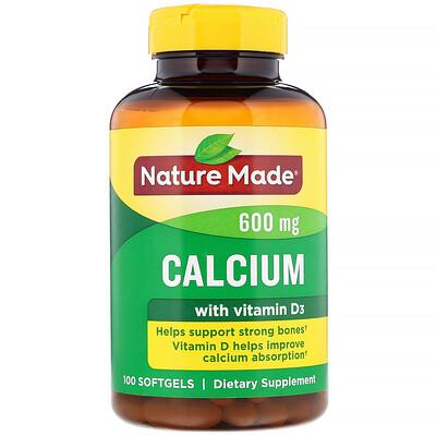 Nature Made Кальций с витаминомD3, 600мг, 100мягких таблеток