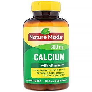 Nature Made, 비타민 D3가 함유된 칼슘, 600 mg, 100 소프트젤