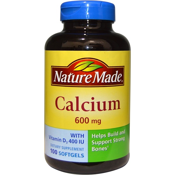Nature Made, Calcium with Vitamin D3 400 IU, 600 mg, 100 Softgels