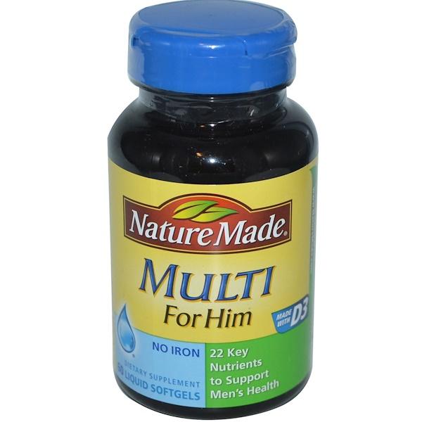 Nature Made, Multi for Him, No Iron, 60 Liquid Softgels (Discontinued Item)