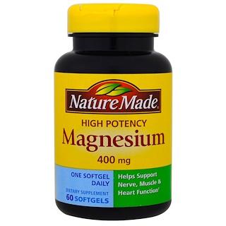 Nature Made, 고 효능 마그네슘, 400 mg, 60 소프트젤