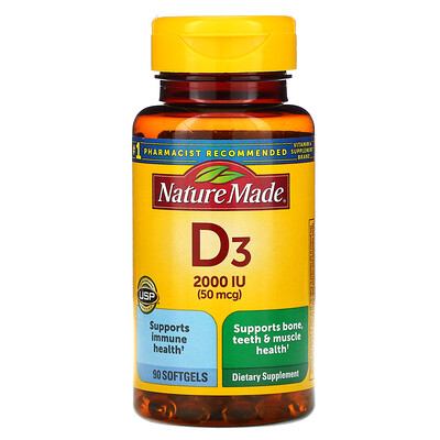 Nature Made Vitamin D3, 50 mcg, 90 Softgels