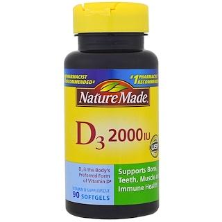 Nature Made, D3 , 2000 IU, 90 Softgels