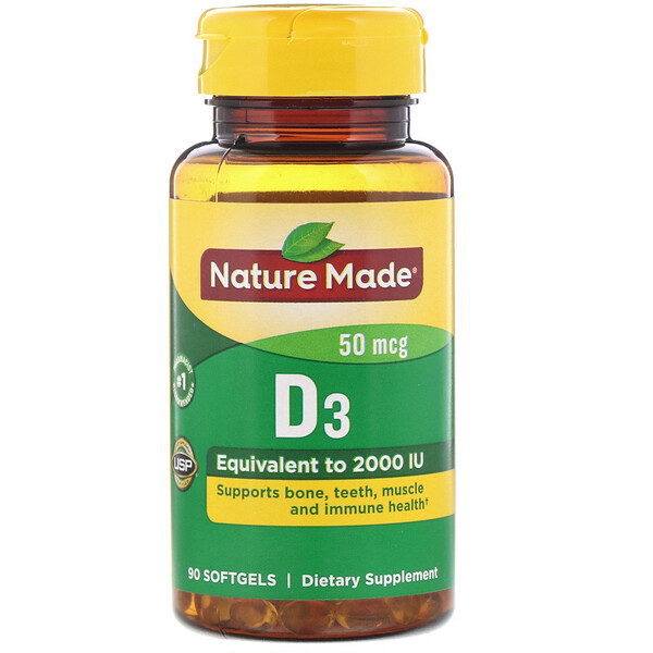 Nature Made, Vitamin D3, 50 mcg, 90 Softgels