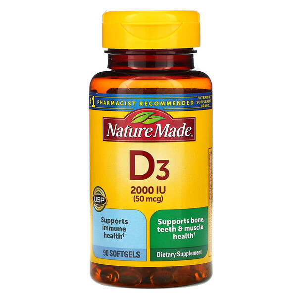 Vitamin D3, 50 mcg, 90 Softgels
