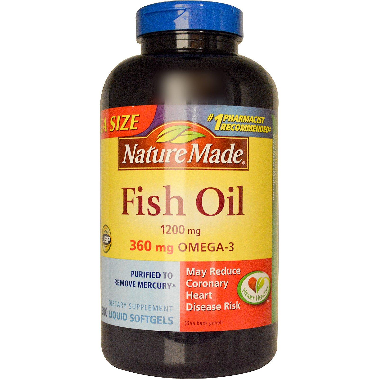 Nature Made, Рыбий жир, 1200 мг, 300 жидких капсул