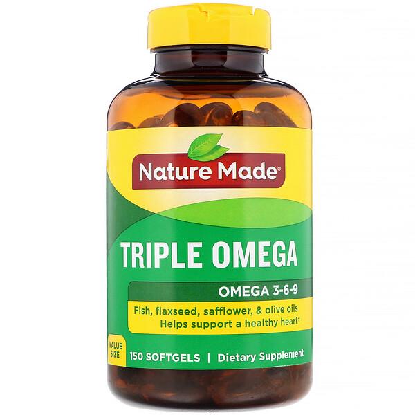 TripleOmega, Oméga-3-6-9, 150capsules à enveloppe molle